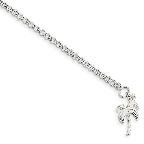 (925 Sterling Silver 10 Inch Solid Palm Tree Anklet Ankle Beach Chain Bracelet Seashore Fine Jewelry Gifts For Women For Her )