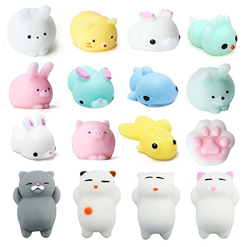 Beelittle Animal Squishies Slow Rising Squishies Mini Cute Cat Rabbit Pig Paw Bird Deer Shark Fidget Toy Stress Reliever Kids Toy Gift 16 PCS -