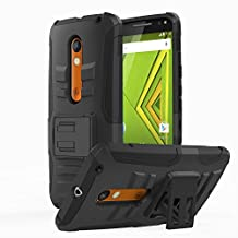 Motorola Moto X Play / DROID Maxx 2 Case, MoKo Shock Absorbing Hard Cover Ultra Protective Heavy Duty Case with Holster Belt Clip + Built-in Kickstand for Motorola Droid Maxx 2 / Moto X Play - Black