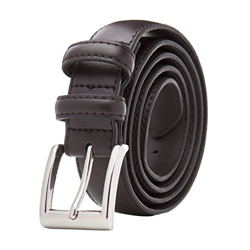 Men's Classic Stitched Leather Belt - Brown Belt With Silver Buckle, Belt for Men (36) - Brown Leather Belt Silver Buckle