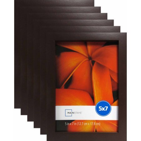"""Price comparison product image Mainstays 5"""" x 7"""" Brown Linear Frame,  Set of 6"""
