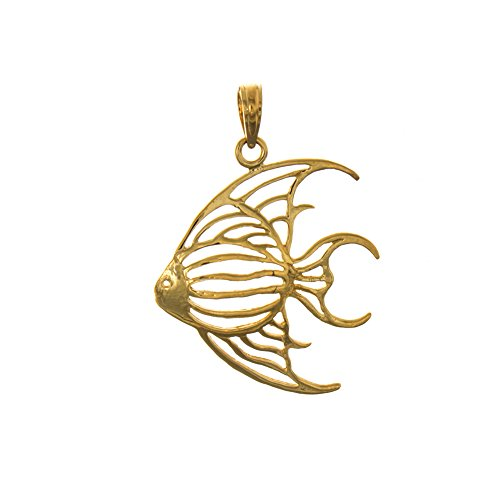 14k Yellow Gold Nautical Charm Pendant, Angelfish, Cut-Out