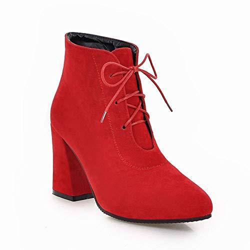 Spessi rosso Alto Grandi Donna Martin Wsr Autunnali Di Invernali 37 Dimensioni Tronchetti Tacco Stivali Caldi Con E Da aA4cgB