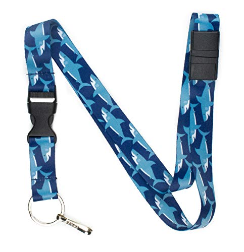 Limeloot Sharks Premium Lanyard with Breakaway, Release Buckle, and Flat -