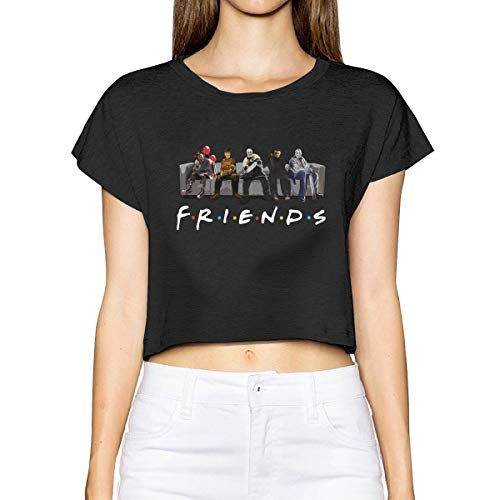 Jacober Friends Film Style Best Horror Characters Halloween Women Sexy Short Sleeve T Shirt Summer Casual Crop Top Blouse -