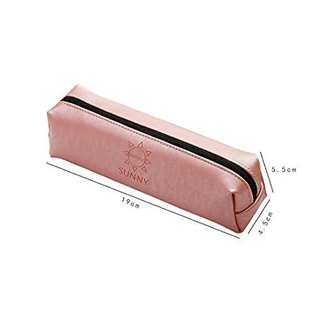 Topdo 1/pcs Plumier Simple Gastos Gran Capacidad PU Peque/ño Almacenaje Estuche Escolar 19/* 5.5/* 4.5/cm Piel sint/ética 19 * 5.5 * 4.5cm Rosa