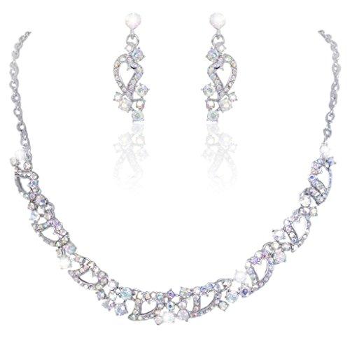 Silver-Tone Love Heart Clear AB Austrian Crystal Necklace Earrings Set