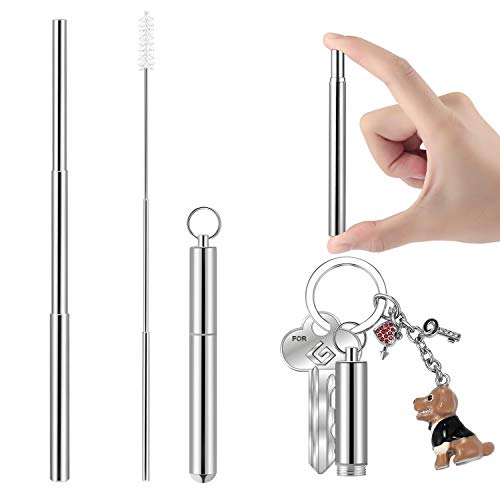 Portable Telescopic Stainless Steel Straws, Yoocaa Reusable Food-gradeTravel Drinking Straws with Aluminum Case, Dishwasher Safe with Cleaning - Travel Case Aluminum
