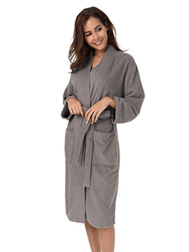 SIORO Womens Robe, Terry Cotton Bathrobe for Spa Shower Bath, Kimono Robe Sleepwear with Pockets Falcon XL (Kimono Jersey)