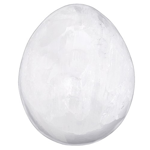 SUNYIK Natural Selenite Egg Sphere Crystal Quartz Sculpture (White Crystal Gemstone)