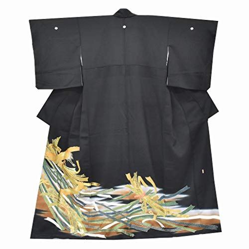 東部鍔熱心な(着物ひととき) 黒留袖 中古 リサイクル 正絹 五つ紋 比翼付き 熨斗文様 ちょっとふくよかL 裄67cmLサイズ 身丈162cmMサイズ 黒系 ll2454b