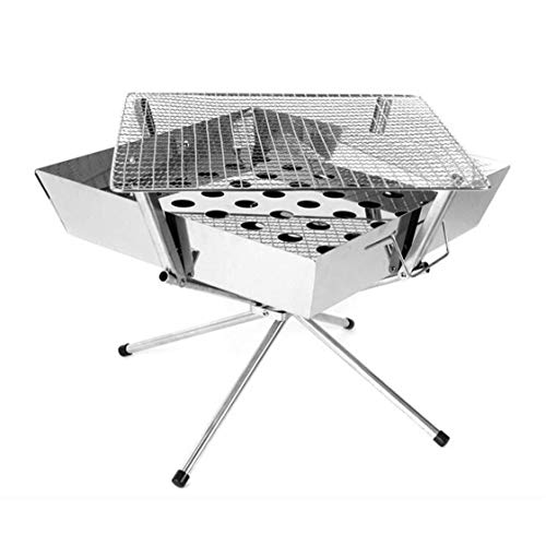 DLINMEI BBQ Barbecue Grill, Portable Electric Barbecue Machine Shelf Table Grill for Indoor BBQ Outdoor Patio Garden Silver Charcoal Grill