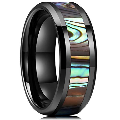 King Will Nature 8mm Black Ceramic Wedding Ring Engagement Band Abalone Shell Inlay Polished Beveled Edge10