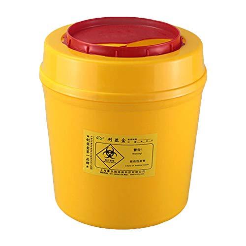 Tansoole 5L Runde Sharpsafe-Behälter für Spritzen, Nadeln, klinische Abfälle, Gelb, Kanülenabwurfbehälter Abwurfbehälter