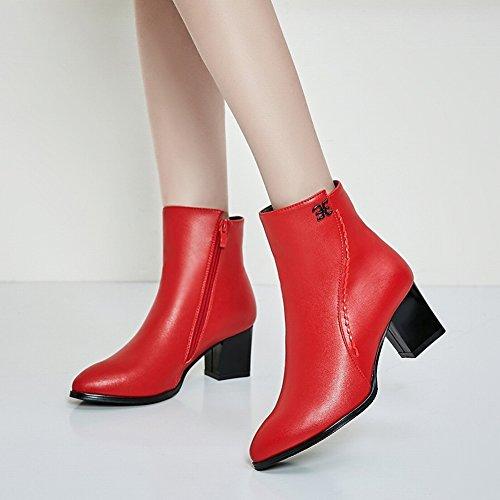 Tamaño Más Punta una Zapatos Moda de de Pequeño EUR34 Mujer Cachemira Algodón de vino de Sola con rojo Botas Zapatos Botas de de Gruesos con 8YwIFO