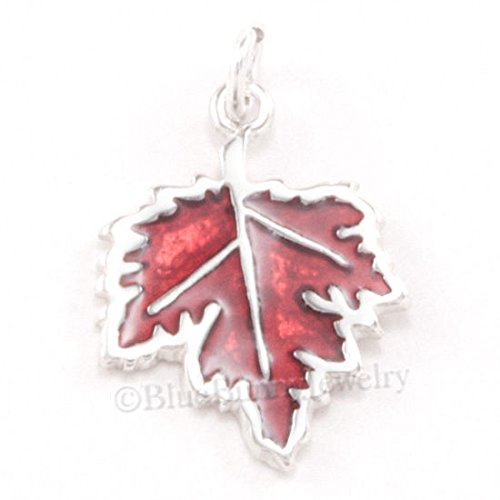 MAPLE LEAF 925 Sterling Silver Thanksgiving Fall AUTUMN ENAMEL Pendant Charm Jewelry Making Supply Pendant Bracelet DIY Crafting by Wholesale Charms