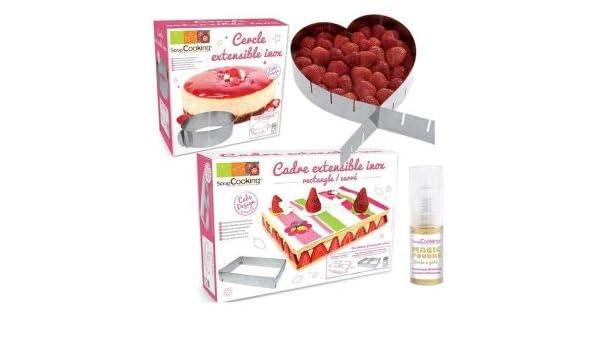 3 marcos de pastelería extensibles corazón, círculo y rectángulo + ...