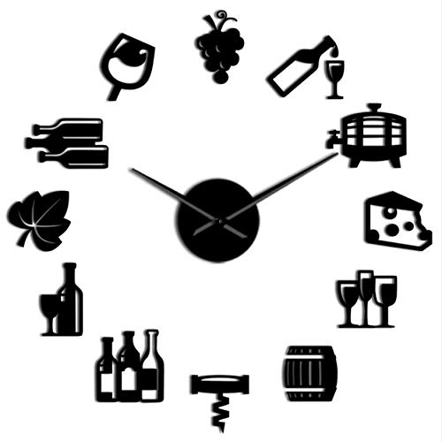 MMLUCK Grapes Wine Alcohol 3D DIY Wall Clock Quiet Sweep Wine Lover Kitchen Wall Decor Acrylic Mirror Effect Clock Watch Creative Show(Black) 37inch