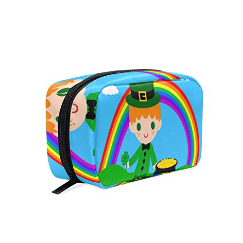 Cosmetic Bag Cute Leprechaun Rainbow Customized Makeup Bags Square Organizer Portable Pouch Pencil Storage Case for Women/Girls]()