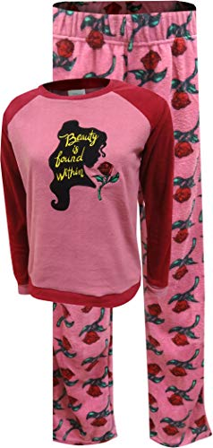Disney Women's Beauty and The Beast Belle's Silhouette Fleece Pajamas (Large) Pink