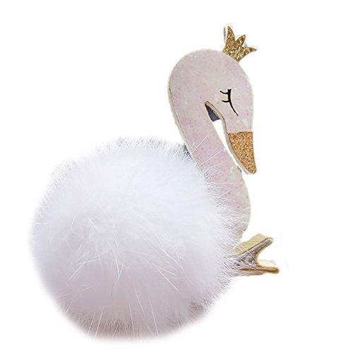 BUYITNOW Baby Girls Glitter Swan Hair Clips Cute Fur Ball Flowers Hairpins -