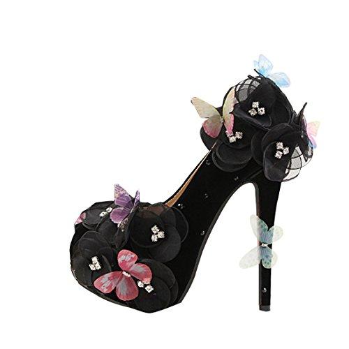 Minishion 14cm Lace Flowers Platform Black on Pumps Evening Women's Wedding Satin Heel Slip Butterfly Hidden pYxOprq