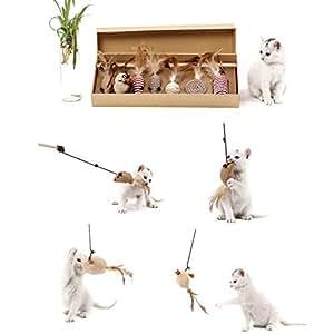 AUOKER Juguete Interactivo para Gatos, Juguete de Plumas para Gato ...