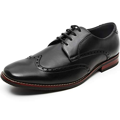 Men's Oxfords Classic Wing Tip Formal Dress Shoes (7.5 M US, black3)