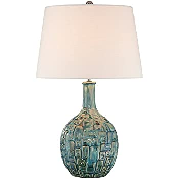 Mid Century Teal Ceramic Gourd Table Lamp
