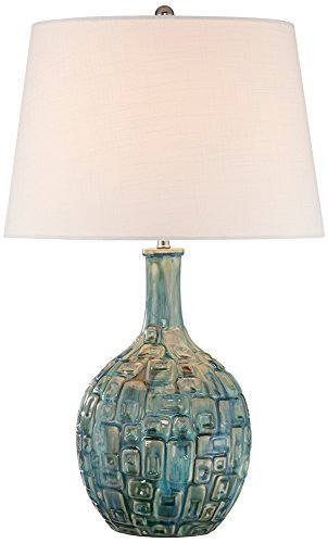 Table Lamp Gourd Ceramic (Mid-Century Teal Ceramic Gourd Table Lamp)