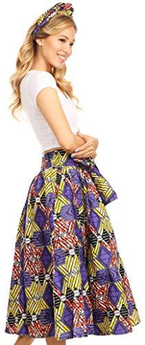 Sakkas 16321 - Celine African Dutch Ankara Wax Print Full Circle Skirt - 49-Multi - OS