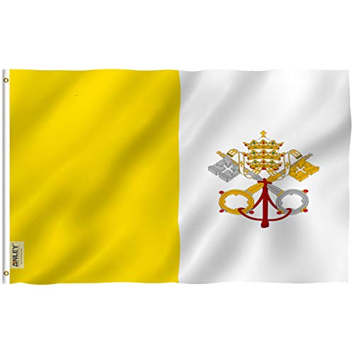 Anley [Fly Breeze 3x5 Foot Vatican Flag - Vivid Color and UV Fade Resistant - Canvas Header and Double Stitched - State of Vatican City Flags Polyester with Brass Grommets 3 X 5 Ft