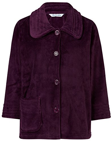 Sleeve Bed Jacket (Slenderella Ladies 3/4 Sleeve X Large Luxury Soft Plum Purple Fleece Button Up Bed Jacket)