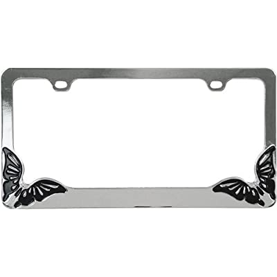 Custom Accessories 92707 Metal Butterfly Design License Plate Frame: Automotive