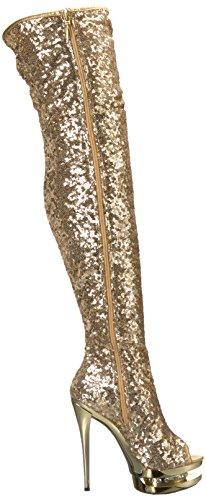 Pleaser ,  Damen Stiefel Gold Sequins/Gold Chrome