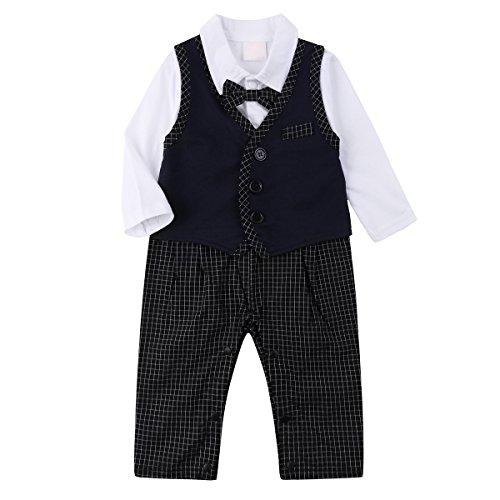 Baby Boy Outfits, Toddler Romper Jumpsuit Clothes Set with Suit Vest & Bowtie