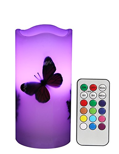 LED Candles Flameless Battery Operated with Remote Timer 6'' Tealight Butterfly & Plants Decor Real Wax Electric Candle Lights 12 Color Changing for Home&Kitchen Indoor/Outdoor Party by Wending (Image #7)