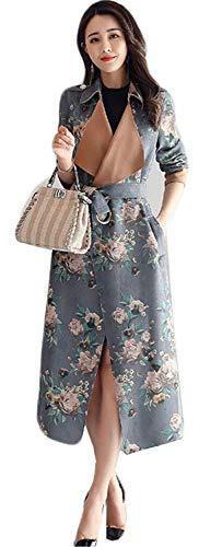 Cintura Outerwear Casuale Inclusa Primaverile Fiore Marca Di Mode Giaccone Manica Lunga Eleganti Stampa Autunno Vintage Camoscio Bavero Outdoor Fashion Blau Giacca wq4nU6xX
