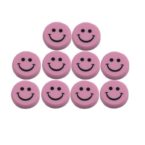 Plastic Round Sourire Magnets Visage Réfrigérateur 30mm 10 Pcs Rose DealMux DLM-B00A784C7M