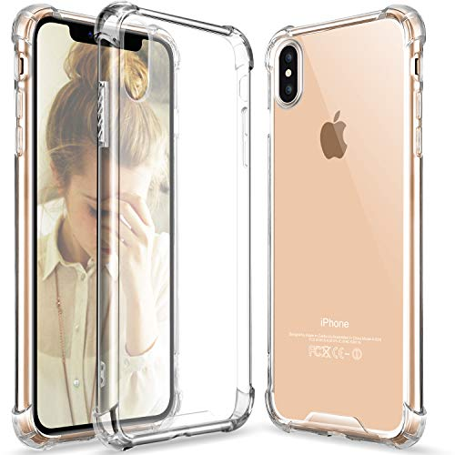 iPhone Xs case, Crystal Clear iPhone X/Xs Case Slim Hybrid Shockproof Anti-Scratch Hard Back Soft Shock Absorption Technology TPU Bumper Drop Protective Case Compatible iPhone Xs 2018 & X- Clear
