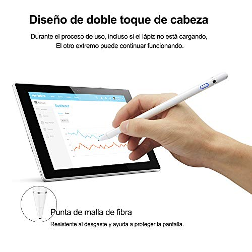 Zspeed Stylus Pen for Apple iPad, Active Stylus Rechargeable Fine Tip Stylus Compatible with All Apple iPad/iPhone/iPad Pro/iPhone X, Android Windows Capacitive Touchscreen Phone & Tablet (White)