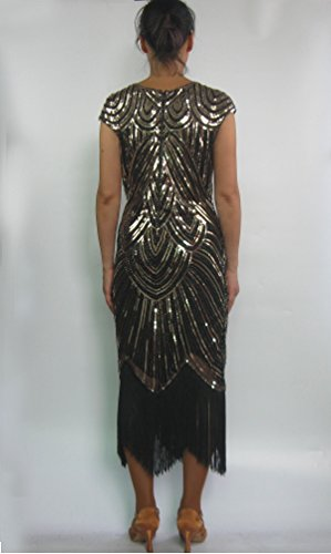 Jazz whitewed Style Flappers Costume Dress s Gatsby Long in 1920 Black Era Gold Great Women qZCnA4Z