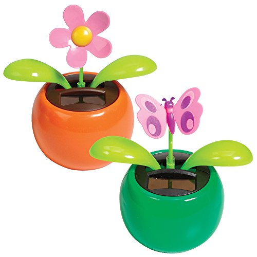 Warm Fuzzy Toys (Set) Dashboard Flower And Butterfly Solar Powered Shakers - Colors May Vary Dashboard Shaker
