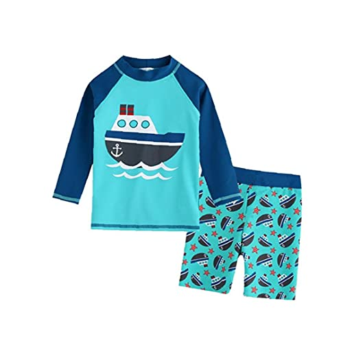 Allwiner Babybadpak Rash Guard lange mouwen neopreenpak zwembroek voor jongens Sailboat 3XL 2ST, strandkleding