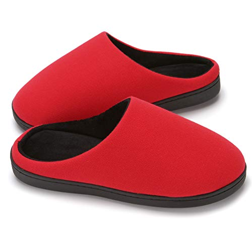 MingAll Men's Two-Tone Memory Foam House Slippers Plush Lining Anti-Skid Comfort Indoor & Outdoor Shoes (13-14 Red)