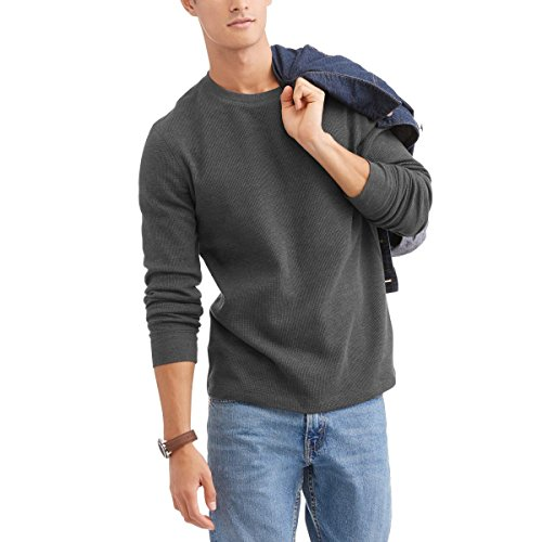 Waffle Knit Thermal (Grey Heather Long Sleeve Thermal Crew Shirt (X-Large 46/48))