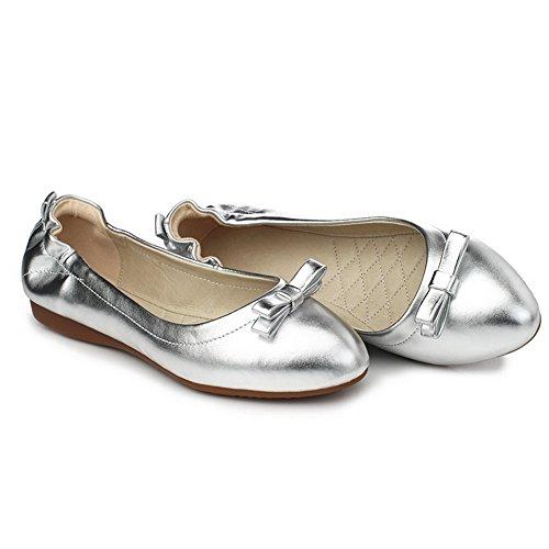 VogueZone009 Damen PU Leder Rein Ziehen auf Spitz Zehe Ohne Absatz Flache Schuhe Silber