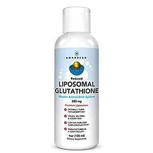 Premium Liposomal Glutathione | Reduced L Glutathione 500mg Master Antioxidant | Liver Detox, Immune Support, Brain Function, Anti-Aging, Skin Whitening | Non-GMO Sunflower Lecithin | Soy-Free & Vegan
