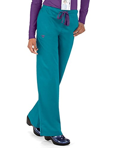 Signature Drawstring Pants - Med Couture Women's Signature 8705 Drawstring/Elastic 3 Pocket Scrub Pant- Eggplant/Teal- Small