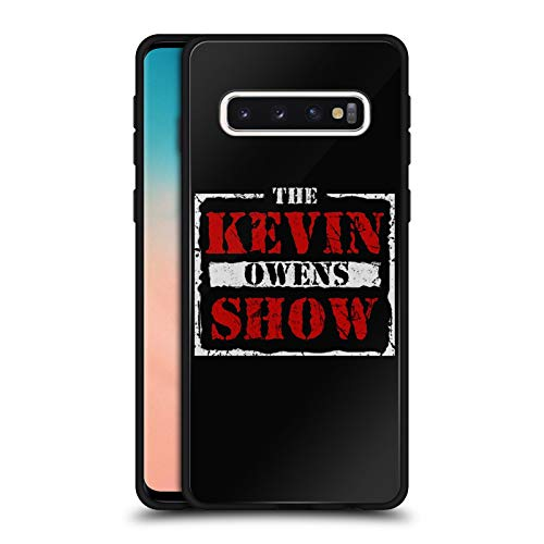 Official WWE The KO Show Kevin Owens Black Hybrid Glass Back Case Compatible for Samsung Galaxy S10 ()